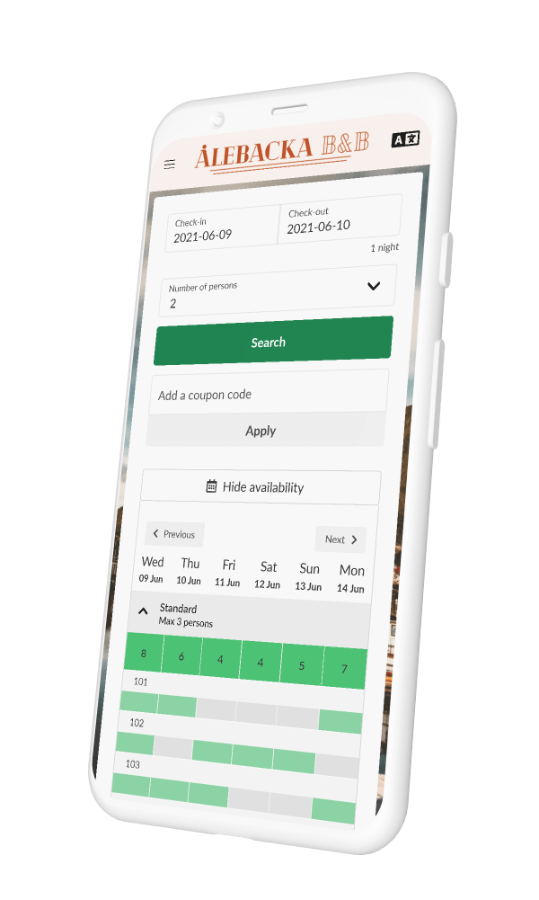 Smartphone with Sirvoy Booking Engine